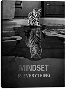 "Motivational Canvas Wall Art Decoration Cat Mindset is Everything Inspirational Quotes Tiger Picture Poster Print on Canvas Giclee Artwork Wooden Home Wall Painting Decor Ready to Hang - 18""Wx24""H"
