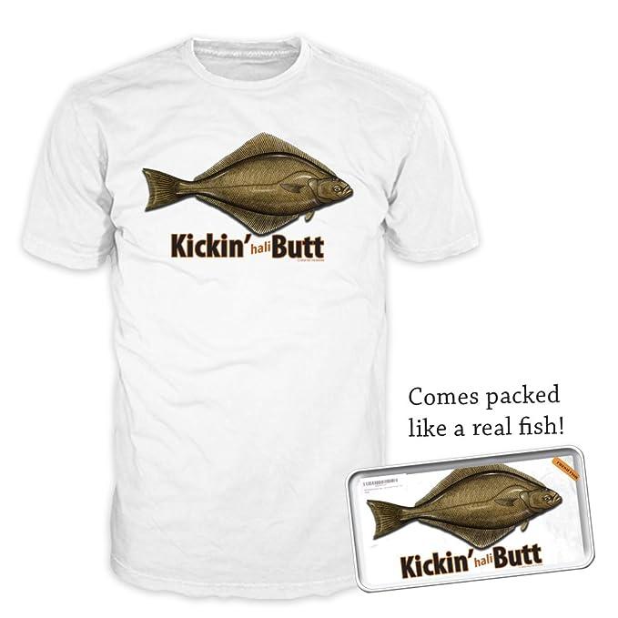 1f943850357 Fresh Fish Kickin' haliButt Fish Men's Funny Graphic Fishing T-Shirt, White,