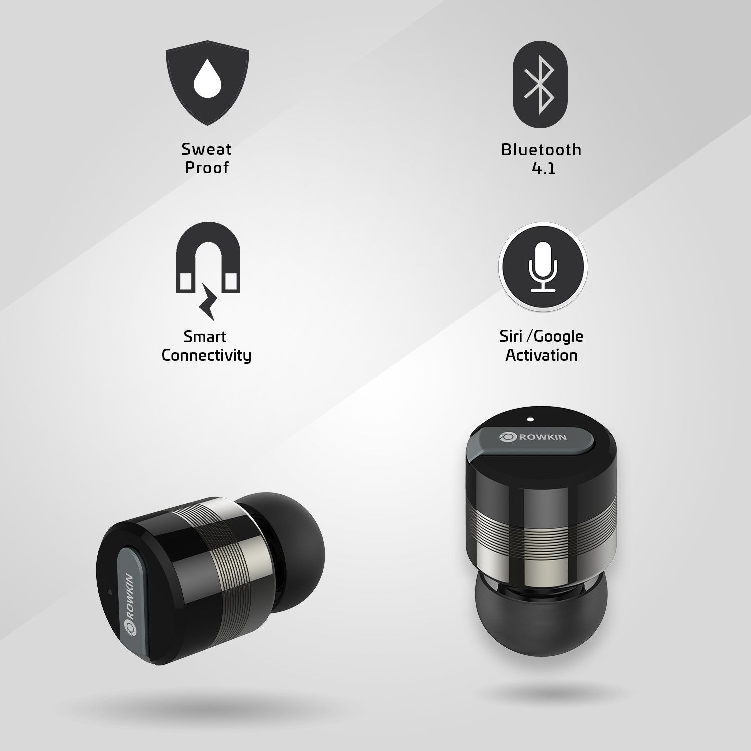 Rowkin Bit Charge Stereo: True Wireless Earbuds w/ Charging Case. Bluetooth Headphones Smallest Cordless Hands-free Mini Earphones Headset w/ Mic & Noise Reduction for Android & iPhone (Space Gray) by Rowkin (Image #3)