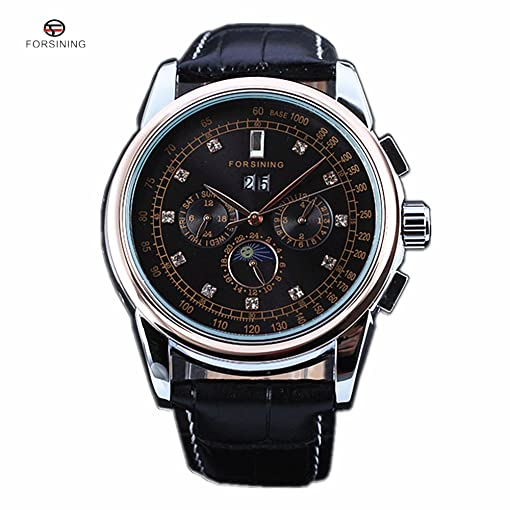 Forsining Moon Phase Rose Gold Case Brown Genuine Leather Strap Mens Watches Luxury Automatic Watch