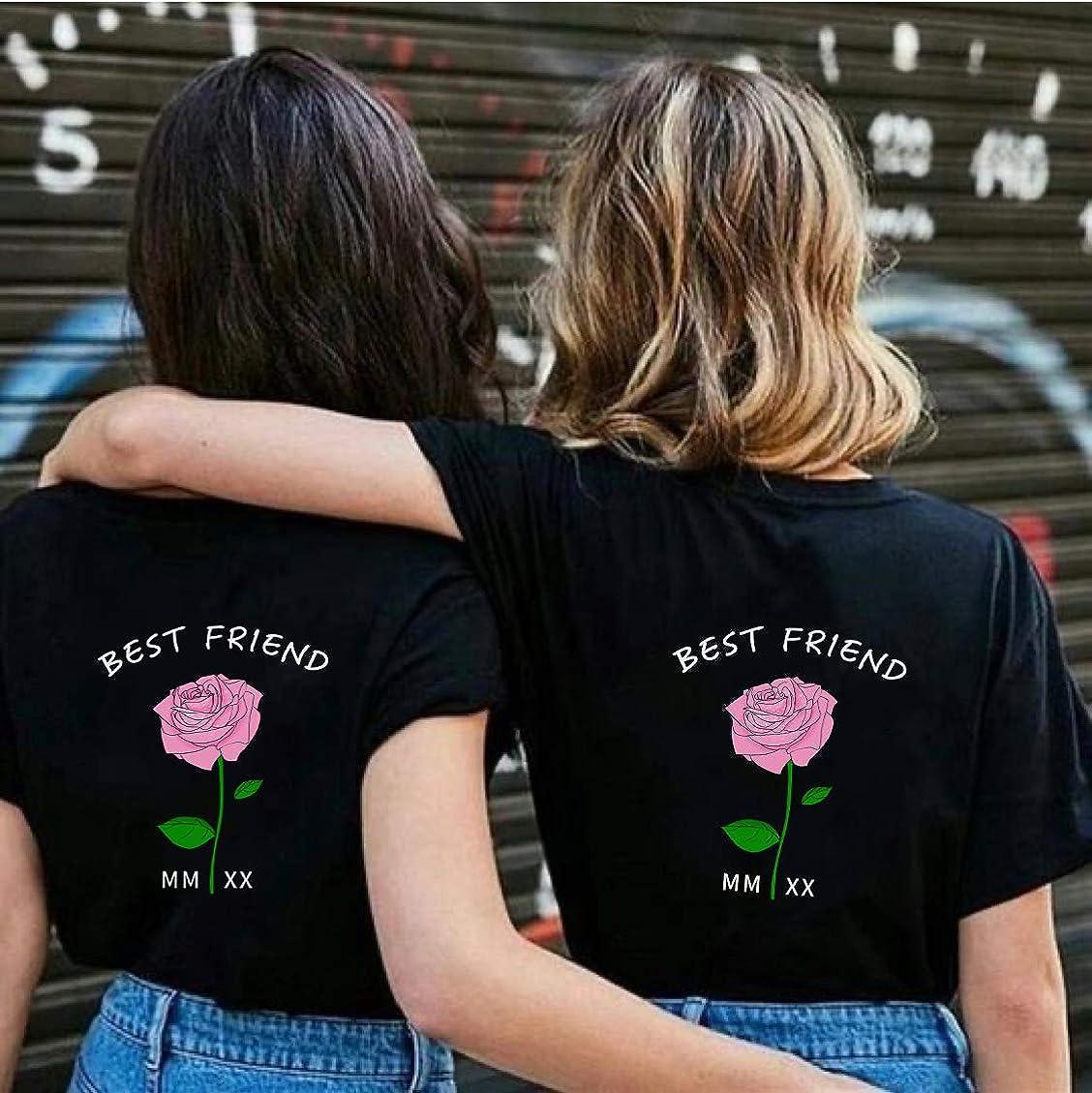 Best Friends Sister Tshirt f/ür Zwei Damen Freund Shirts mit Rose Tops Sommer Oberteil BFF Geburtstagsgeschenk 1 St/ücke Symbolische Freundschaft