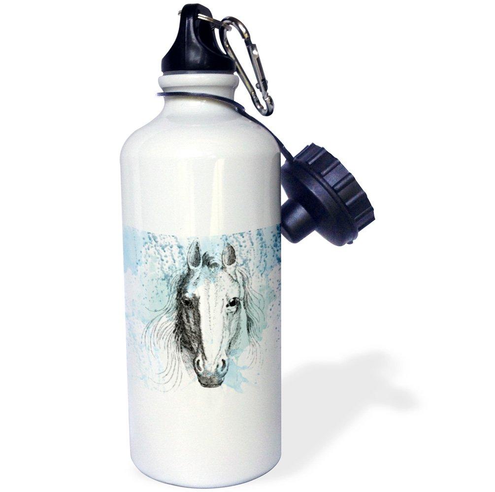 3dRose wb/_179100/_2Blue Watercolor Horse Flip Straw Cartoon Sports Water Bottle 21 oz Multicolor