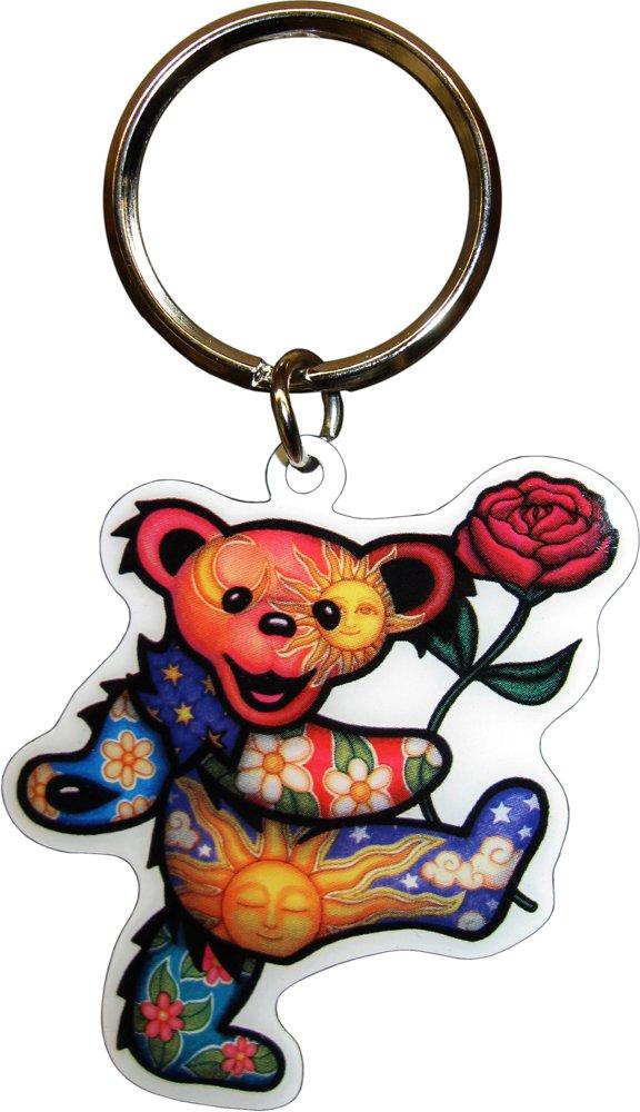 Grateful Dead - Dancing Bear with Rose - Metal Keychain Dan Morris/GDP