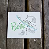 Boise Map Art Print, letterpress art print eco friendly