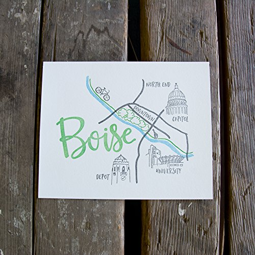 Boise Map Art Print, letterpress art print eco friendly by Ladybug Press