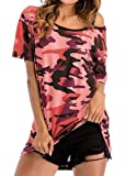 Joe Wenko Women's Relaxed-Fit Short Sleeve Camouflage Fashion Blouse T-Shirt Top