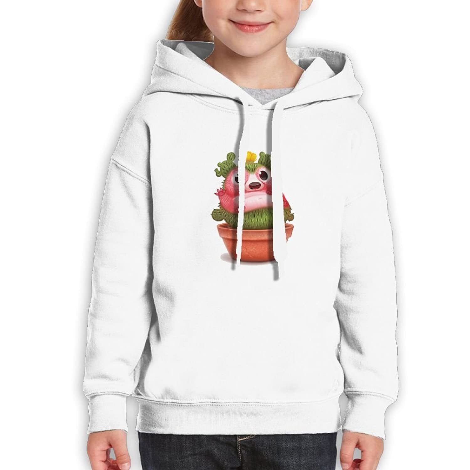 LENSITON Prickly Pear Pattern Unisex Teenager Hoodies With Cap For Boys and Girls Pullover Sweatshirts