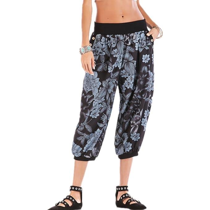37da694b1901 Hibote Damen 3 4 Haremshosen Hose Kurze Sommer Elastische Taille Stoffhose  Bermuda Einfarbig Beiläufige Pants