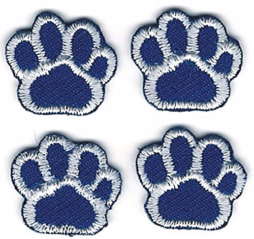 Iron On Embroidered Patch Top Quality Lot of 4 Medium Blue White Dog Animal Paw Print 5/8