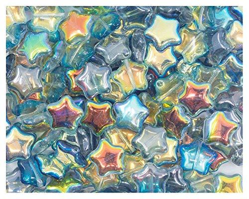 25pcs Star Beads, 12mm, Czech Pressed Glass, Crystal Blue Rainbow
