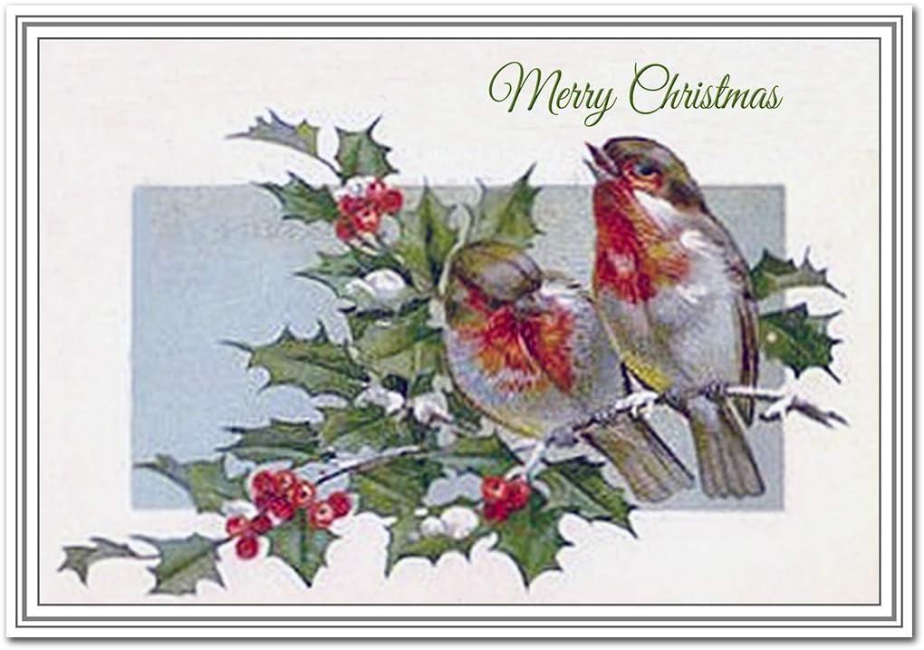 Handmade Large Christmas Card with robins and christmas scene