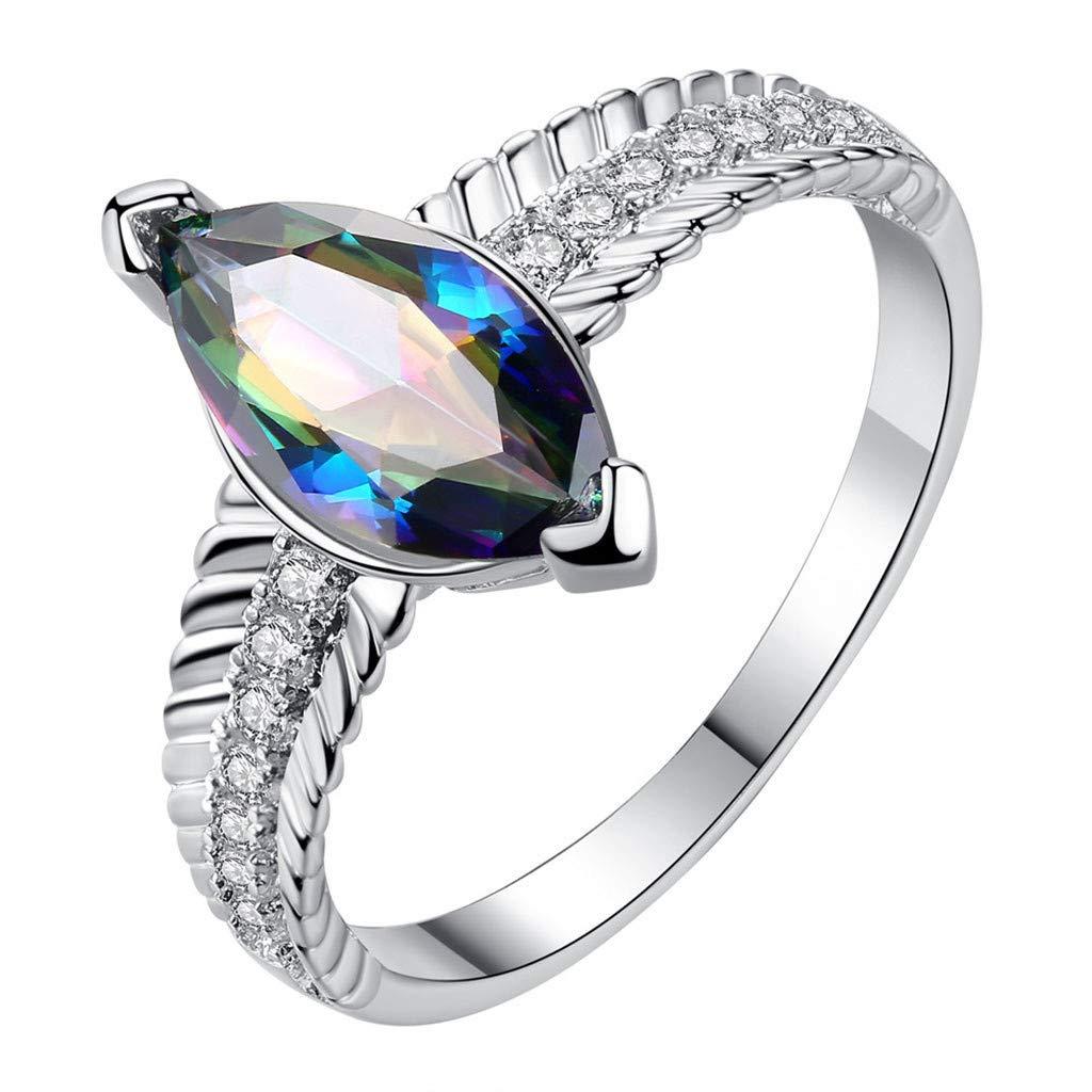 Nmch Geometric Horse Eye Colorful Zircon Rings Women Simple Diamond Finger Rings Jewelry Fashion