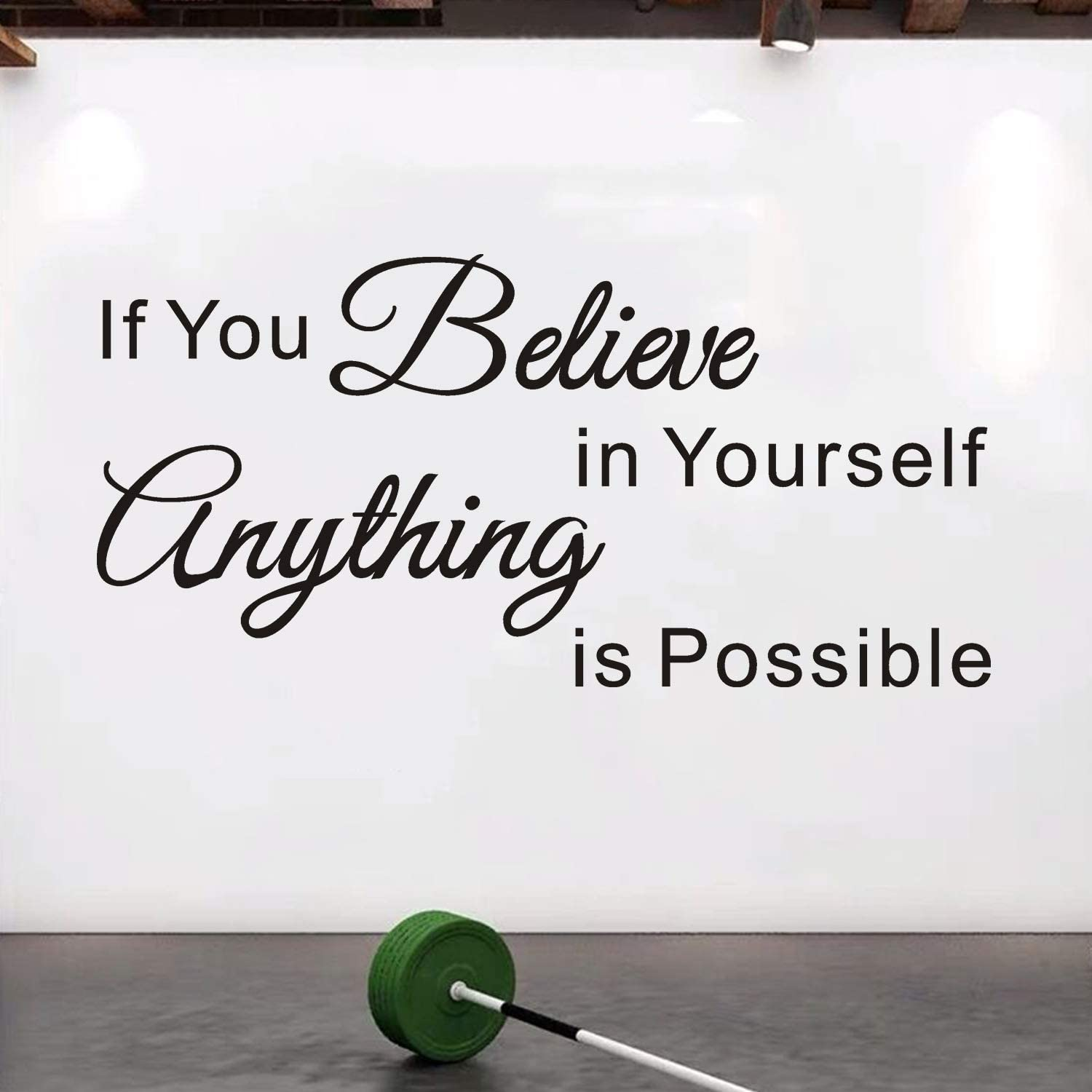 VODOE Quote Wall Decals, Gym Wall Decal, Inspirational Office School Classroom Bedroom Teen Dorm Room Life Motivational Art Decor Vinyl Stickers If You Believe in Yourself Anything Is Possible 33
