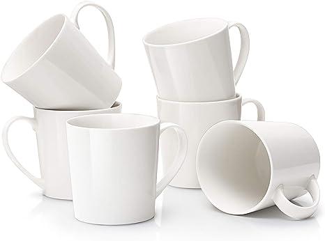 Amazon Com Dowan Large Coffee Mugs Set 18 Oz White Coffee Mug Set Of 6 Ceramic Mugs With Large Handle For Coffee Tea Cocoa Dishwasher Safe Chip Free Diy Paint Ideal Gift For Morning