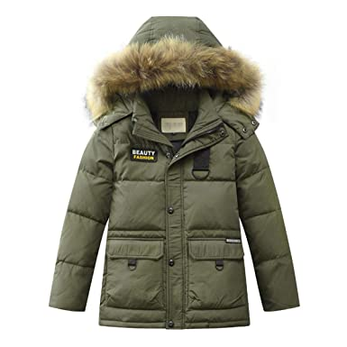 d8c8bda01987 Amazon.com  LISUEYNE Boys Kids Winter Hooded Down Coat Puffer Jacket ...
