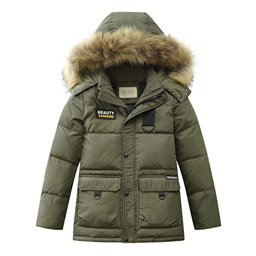 0319f6cc560a LISUEYNE Boys Kids Winter Hooded Down Coat Puffer Jacket for Big Boys Mid- Long (