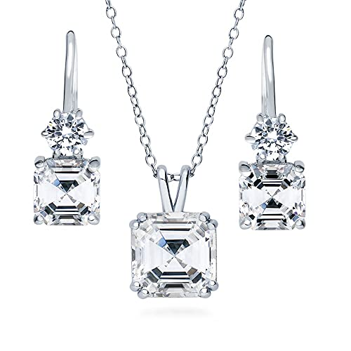 BERRICLE Rhodium Plated Sterling Silver Cushion Cut Cubic Zirconia CZ Halo Bridal Bridesmaid Necklace and Earrings Set