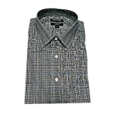 Kirkland Signature Men's Long Sleeve Button Down Dress Shirts (18 x 34/35, Brown/Black/White Checks)