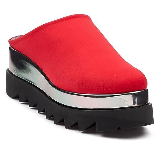 BOBERCK Stella Collection Women's Back Less Platform Slip on - Fashion Slip on Sneakers - Loafer Slip on (8 US, Red)