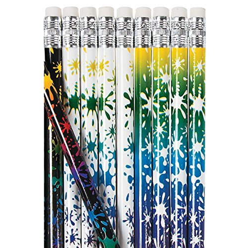 24-Pack of Paint Splat Party Favor Wooden Pencils #2 Lead