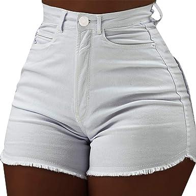 Vertvie Femme Jeans Shorts Taille Haute Denim Pantalon Court Bermudas  Skinny Stretch Push Up Hanche Mini 2de3e91b3d3