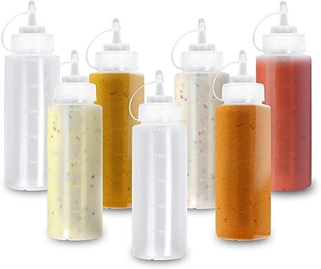 10pcs Squeeze Flasche aus Kunststoff 240ml 8oz,Squeeze Flasche mit Kappen Saucenflasche Quetschflasche Mayonnaise /Öl Squeeze Condiment Flaschen f/ür Ketchup Senf hei/ße So/ßen Home K/üche Restaurant