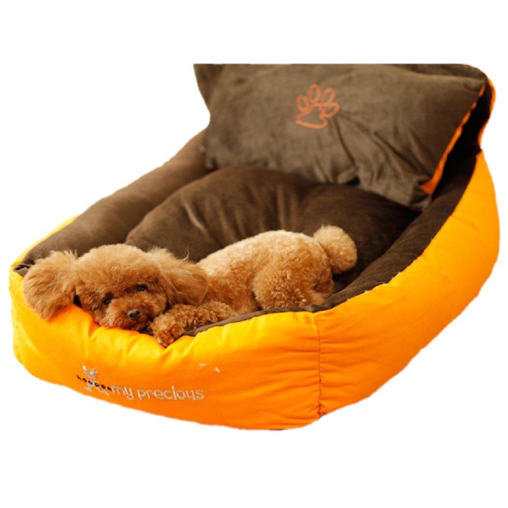 Spinas-スピナス- ペット 犬 猫 ベッド スクウェア型 分解水洗い可 枕付き アゴ乗せ フワフワで温かい (イエロー×ブラウン) B01M171U3R  M M