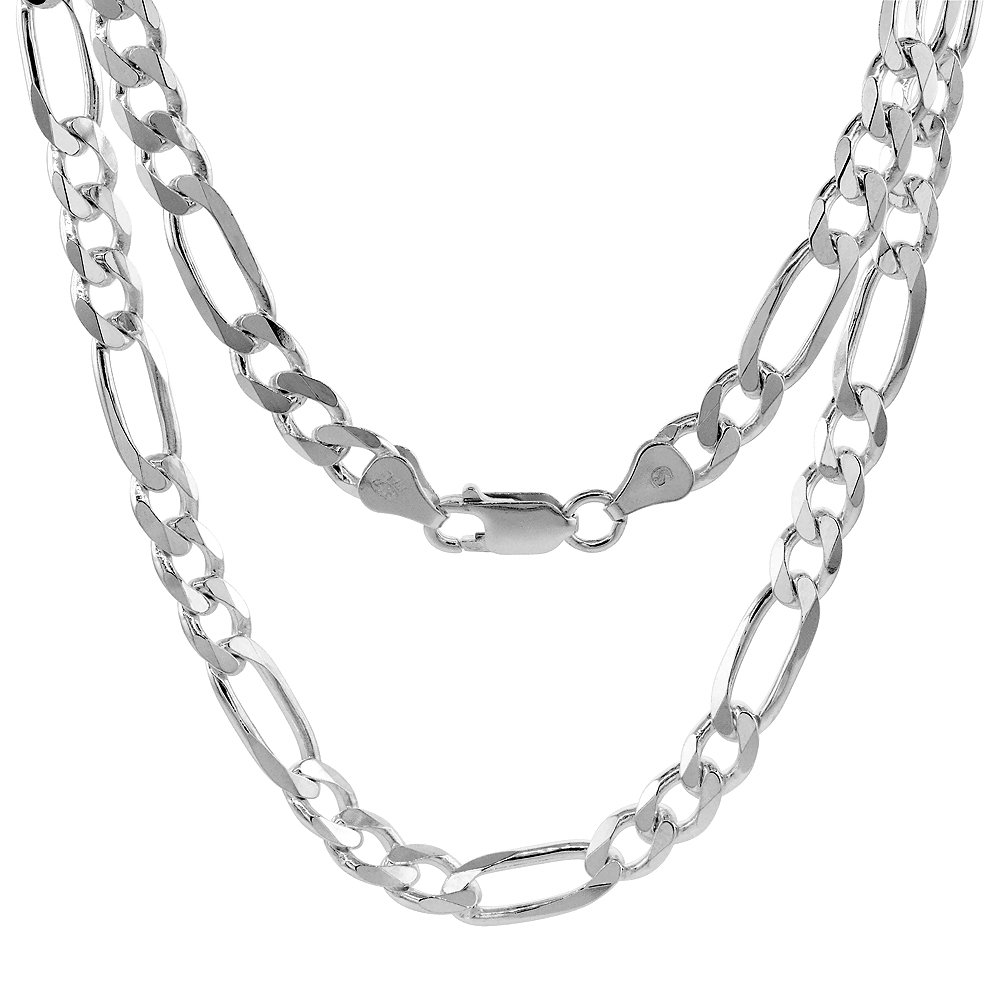 9mm Figaro Chain Necklace Beveled Edges Nickel Free Italy Sterling Silver 1mm
