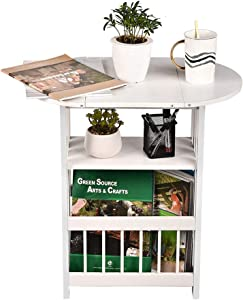 GIODIR Folding Side End Table Wood Magazine Rack, Storage Accent Table, Nightstand with Rotating Tabletop for Living Room, Bedroom, Home Office (White)