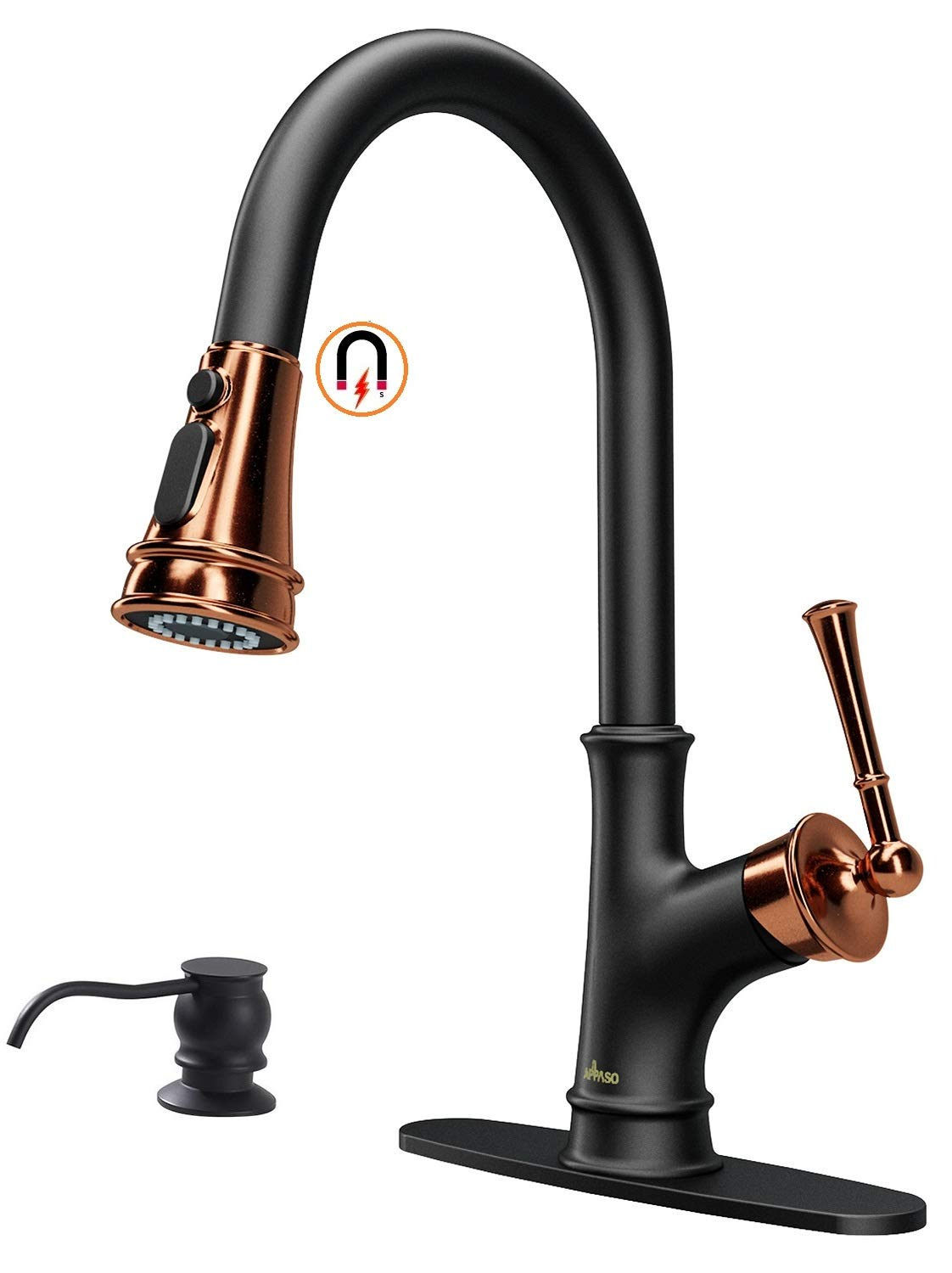 SUS Kitchen Sink Faucet Pull Down//Out Sprayer Head Mixer Taps and soap dispenser