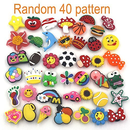 Mahoo 40 Pieces Kawaii Shoes Charms for Crocs Shoes Wristband Bracelet and Gifts (Basketball Shoe Charm)
