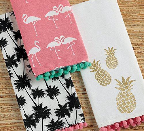 - Design Imports Pineapple and Palms Table Linens, 18-Inch by 28-Inch Dishtowels, Set of 3, 1 Flamingo Pom Pom Printed, 1 Pineapple Pom Pom Printed and 1 Palm Pom Pom Printed