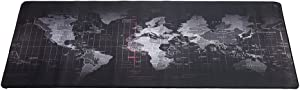 World Map Gaming Mouse Pad with Stitched Edges Non-Slip Rubber Base Extended XXL Mousepad for Computer PC Keyboard Laptop