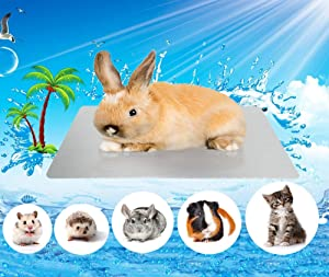 Comtim Rabbits Cooling Mat, Self Cooling Mat Pad for Hamster Guinea Pig Chinchilla Kitten Cat and Other Small Animals, Pet Cool Plate Ice Bed, Rapid Cooling - Perfect for Hot Summer Weather