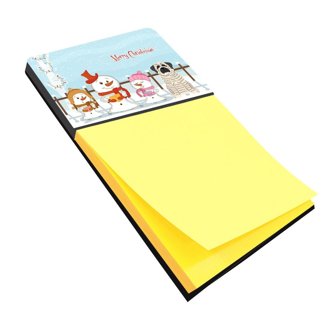 Carolines Treasures Merry Christmas Carolers Mastiff Brindle White Sticky Note Holder BB2347SN Multicolor