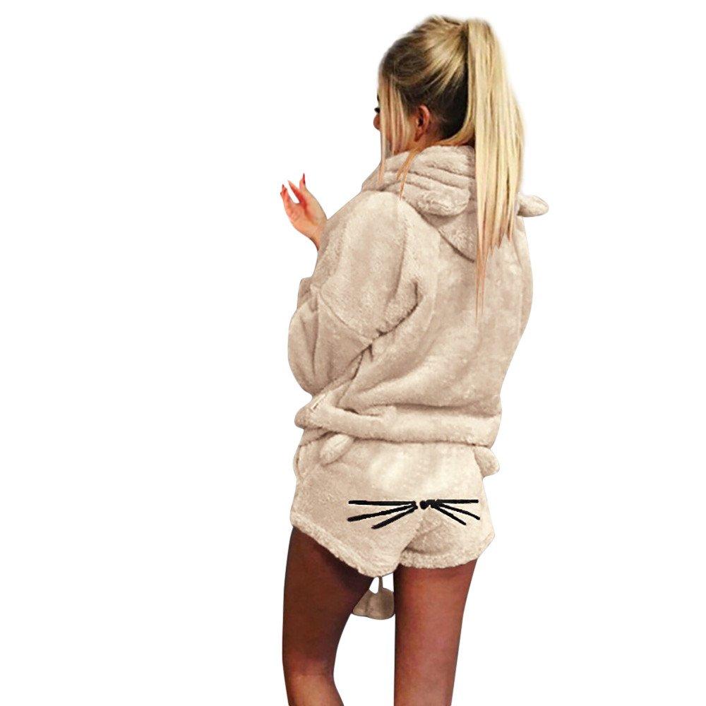2Pcs/Set Womens Pajamas Plus Size Winter Clearance, Cute Cartoon Cat Warm Hoodie Fluffy Top Pant Sleepwear Outfit