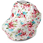 Stretchy Multi Use Carseat Canopy | Nursing Cover | Shopping Cart Cover | Infinity Scarf- Vintage White Floral Print | Best Baby Gift for Girls | Fits Most Infant Car Seats | For Breastfeeding Moms
