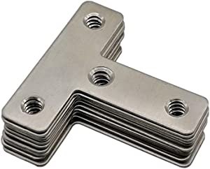 BCQLI 10 pcs 50mm x 50mm Stainless Steel T-Type Corner Code, Side Fixed Connector