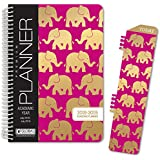 """HARDCOVER Academic Year Planner 2018-2019 - 5.5""""x8"""" Daily Planner / Weekly Planner / Monthly Planner / Yearly Agenda. Bonus BOOKMARK (Elephants)"""