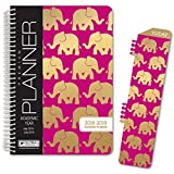 HARDCOVER Academic Year Planner 2018-2019 - 5.5''x8'' Daily Planner/Weekly Planner/Monthly Planner/Yearly Agenda. Bonus Bookmark (Elephants)