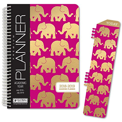 """HARDCOVER Academic Year Planner 2018-2019 - 5.5""""x8"""" Daily Planner/Weekly Planner/Monthly Planner/Yearly Agenda. Bonus Bookmark (Elephants)"""