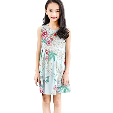 ShiTou Clothes- Toddler Kid Sleeveless Floral Printing Party Dress Outfits (Green, 130)