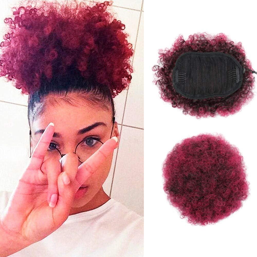 8 pulgadas corto Afro Puff Rojo Sintético del pelo Chignon pelo para las mujeres de cola de caballo rizado peinado Clip de extensiones de cabello