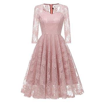 Qiusa Vestido de Boda de la Princesa del cordón del Partido de la Vendimia de Las Mujeres (Color : Rosado, tamaño : Large): Amazon.es: Hogar