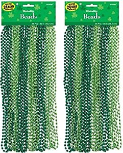 "Wee willy St. Patrick's Day Party Metallic Bead Necklaces , Green, Plastic , 34"", (2 Packs of 24)"