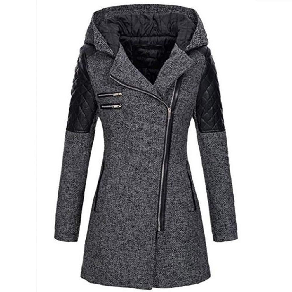 Manteau Femme Hiver Chaud Long ELECTRI Veste Zippé à Capuche épais Hiver Manteau de Laine Pas Cher Fourrure Noir Gris