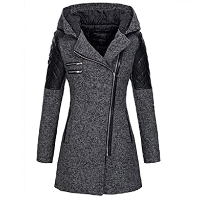 reputable site a96f4 f3d78 Geili Damen Wolle Mantel Leder Patchwork Winter Jacken Lange ...