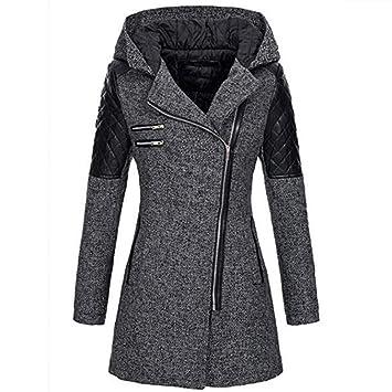 a0d3885160bff Manteau Femme Hiver Chaud Long ELECTRI Veste Zippé à Capuche épais Hiver  Manteau de Laine Pas