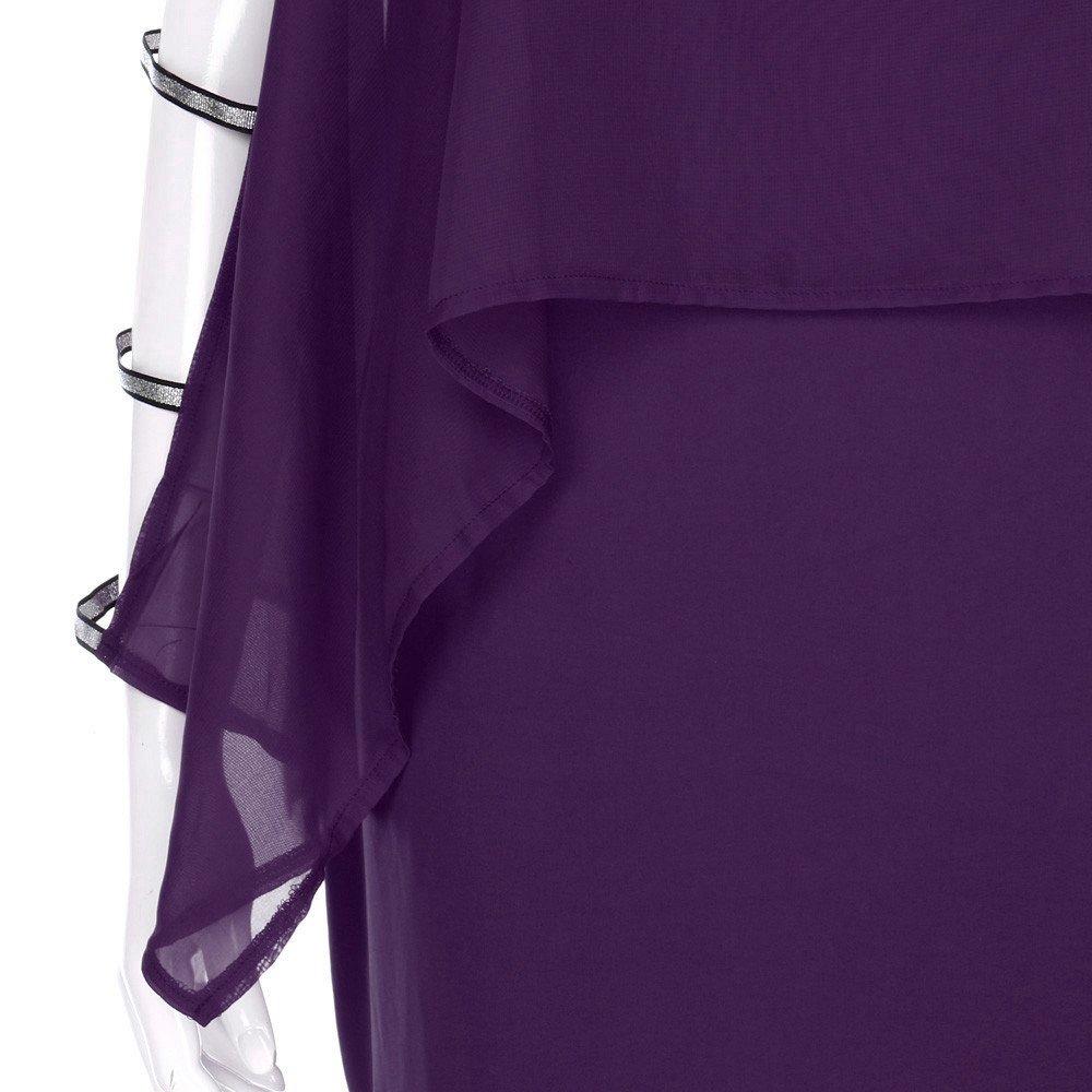 Nyuiuo Damen Plus Size Kleider Sommer Casual Plus Size Ladder Cut Overlay Asymmetrische Chiffon Bluse Frauen Mode Oberteile Chiffon Tr/ägerlos Frauen Minikleid Damen Tr/ägerlosen Tops