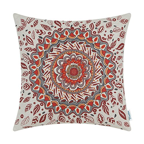 CaliTime Cushion Cover Throw Pillow Shell Floral Compass Medallion 18 X 18 Inches Red
